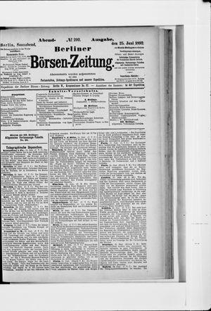 Berliner Börsen-Zeitung vom 25.06.1892