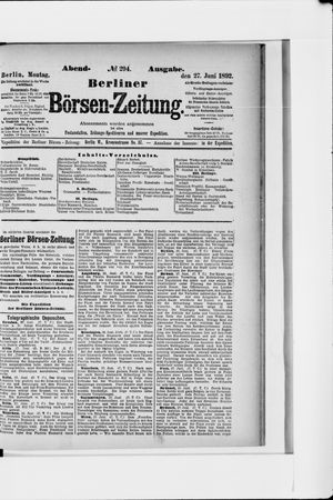Berliner Börsen-Zeitung vom 27.06.1892