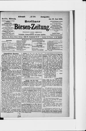 Berliner Börsen-Zeitung vom 29.06.1892