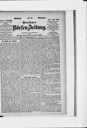 Berliner Börsen-Zeitung vom 07.07.1892