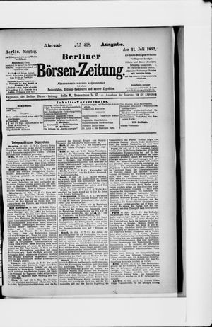 Berliner Börsen-Zeitung vom 11.07.1892