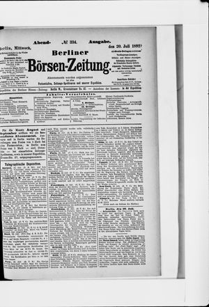 Berliner Börsen-Zeitung vom 20.07.1892
