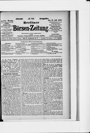Berliner Börsen-Zeitung vom 25.07.1892