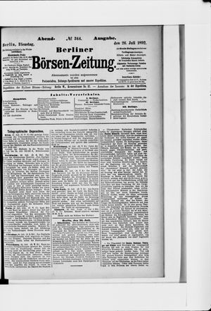 Berliner Börsen-Zeitung vom 26.07.1892