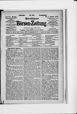 Berliner Börsen-Zeitung vom 01.08.1892