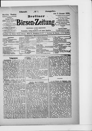 Berliner Börsen-Zeitung vom 02.01.1893
