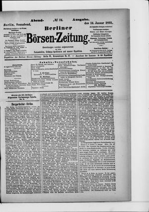 Berliner Börsen-Zeitung on Jan 14, 1893
