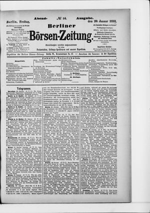 Berliner Börsen-Zeitung vom 20.01.1893