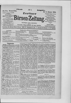 Berliner Börsen-Zeitung vom 04.01.1894