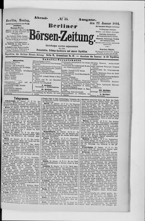 Berliner Börsen-Zeitung vom 22.01.1894