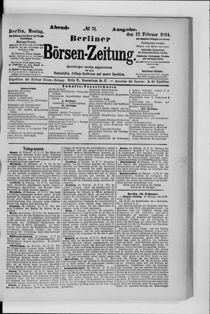 Berliner Börsen-Zeitung vom 12.02.1894