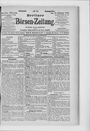 Berliner Börsen-Zeitung vom 14.02.1894