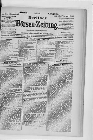 Berliner Börsen-Zeitung vom 17.02.1894