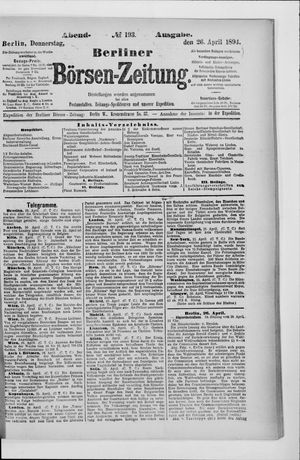 Berliner Börsen-Zeitung vom 26.04.1894