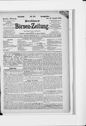 Berliner Börsen-Zeitung vom 22.08.1894