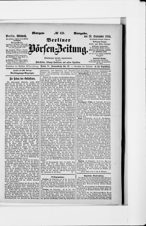 Berliner Börsen-Zeitung vom 19.09.1894