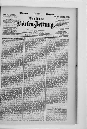 Berliner Börsen-Zeitung vom 23.10.1894