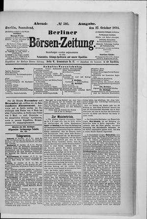 Berliner Börsen-Zeitung vom 27.10.1894