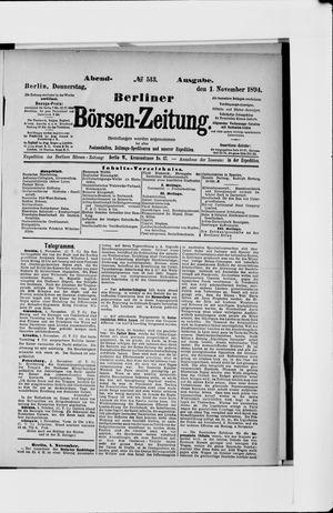 Berliner Börsen-Zeitung vom 01.11.1894