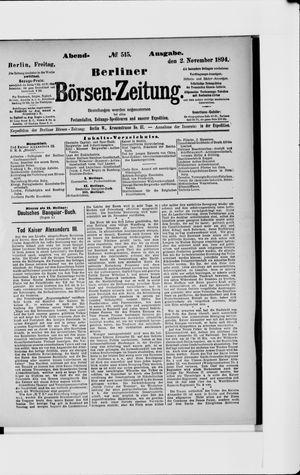 Berliner Börsen-Zeitung vom 02.11.1894