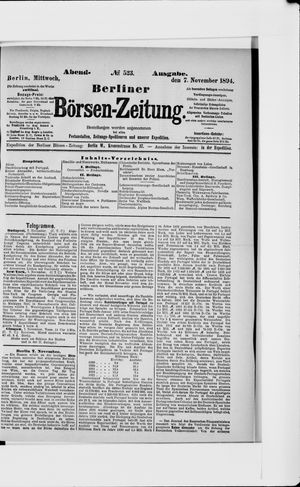 Berliner Börsen-Zeitung vom 07.11.1894
