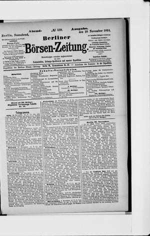 Berliner Börsen-Zeitung vom 10.11.1894