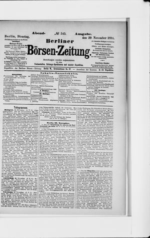 Berliner Börsen-Zeitung vom 20.11.1894