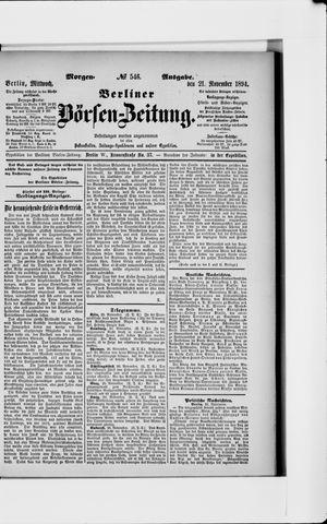 Berliner Börsen-Zeitung vom 21.11.1894