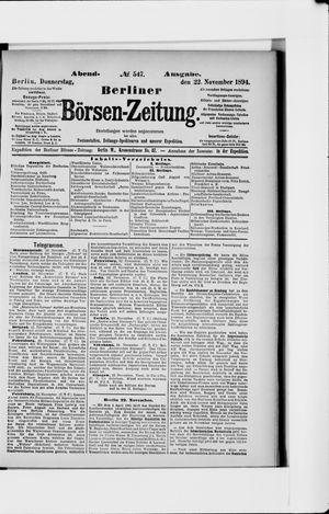 Berliner Börsen-Zeitung vom 22.11.1894