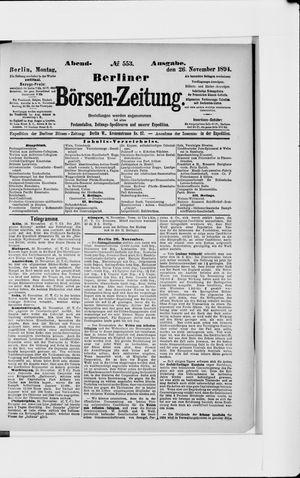 Berliner Börsen-Zeitung vom 26.11.1894