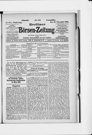 Berliner Börsen-Zeitung vom 29.11.1894