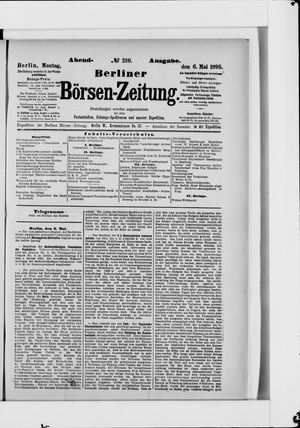 Berliner Börsen-Zeitung vom 06.05.1895