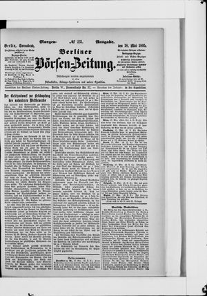 Berliner Börsen-Zeitung vom 18.05.1895