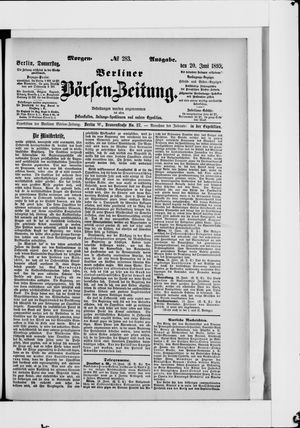 Berliner Börsen-Zeitung vom 20.06.1895
