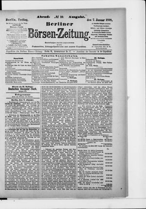 Berliner Börsen-Zeitung vom 07.01.1898