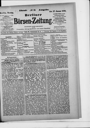Berliner Börsen-Zeitung vom 17.01.1898
