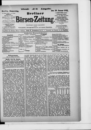 Berliner Börsen-Zeitung vom 20.01.1898