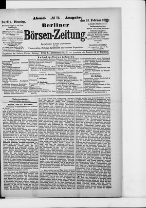 Berliner Börsen-Zeitung vom 15.02.1898