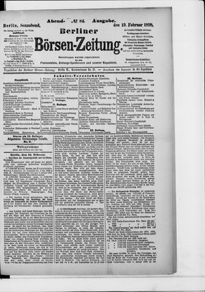 Berliner Börsen-Zeitung vom 19.02.1898