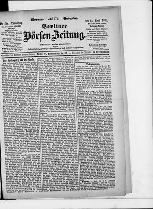 Berliner Börsen-Zeitung on Apr 14, 1898