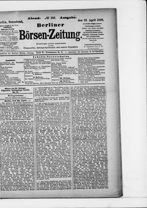 Berliner Börsen-Zeitung vom 23.04.1898