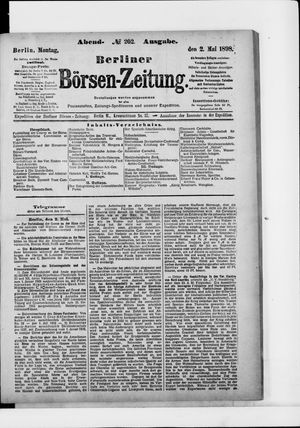 Berliner Börsen-Zeitung vom 02.05.1898
