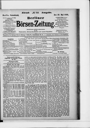 Berliner Börsen-Zeitung vom 28.05.1898