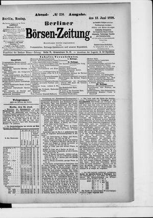 Berliner Börsen-Zeitung vom 13.06.1898