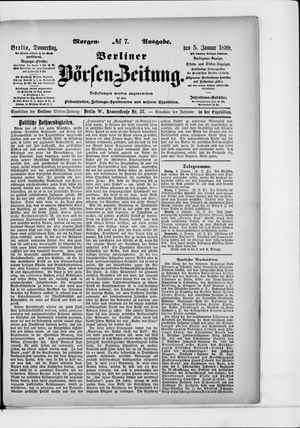 Berliner Börsen-Zeitung vom 05.01.1899