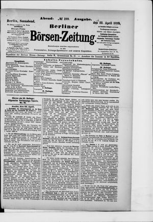 Berliner Börsen-Zeitung vom 22.04.1899