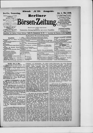 Berliner Börsen-Zeitung on May 4, 1899
