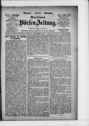 Berliner Börsen-Zeitung vom 01.06.1899