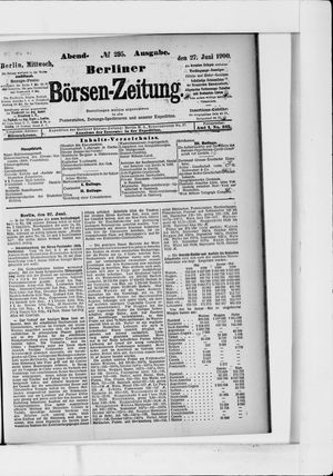 Berliner Börsen-Zeitung vom 27.06.1900