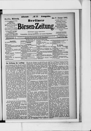 Berliner Börsen-Zeitung vom 08.01.1902